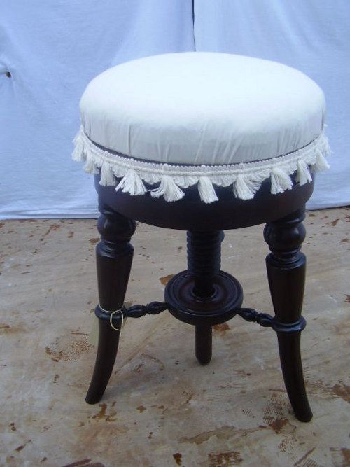 """PIANO STOOL - Antiques Atlas. C 1820. Regency mahogany revolving piano stool, with newly reupholstered seat. The seat rises to accomodate different user heights. Supported on elegant splayed legs. £325.00 UK. $538.92 USA. Euro & Dollar conversion rates as of 28/AUG/2014 DimensionsHEIGHT 19.5"""" AT LOWEST POINT. SEAT DIAMETER 12"""" CIRCA 1820 Regency. Mahogany. English. Barnhill Trading Co."""