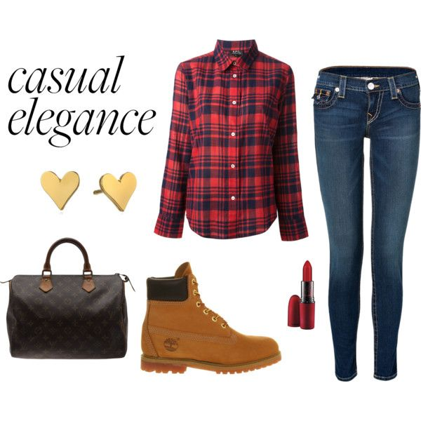 Casual elegance by ioannaktg on Polyvore featuring A.P.C., True Religion, Timberland, Louis Vuitton, Dogeared Jewels & Gifts and MAC Cosmetics
