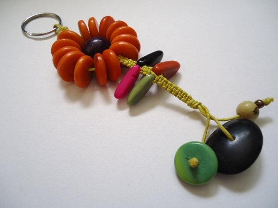Orange Flower Keyring made with tagua by IngridFonseca on Etsy, $10.00: Flower Keyring, Eco Friendly Accessories, Orange Flowers