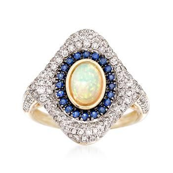 Ross-Simons - Opal and .79 ct. t.w. Diamond Ring With Sapphires in 14kt Yellow Gold - #875916