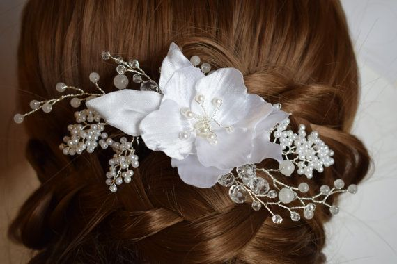Jade Gemstone Wedding hair piece  Wedding hair comb by MkeFlower
