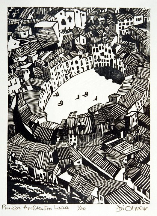 """Piazza Anfiteatro Lucca"" linocut by Di Oliver. www.dioliver.co.uk Tags: Linocut, Cut, Print, Linoleum, Lino, Carving, Block, Woodcut, Helen Elstone, Italy, Town, Buildings."