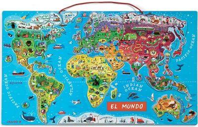 Janod 05503 - Puzzle Mapa del Mundo en Español Magnético - Comprar ahora || deMartina.com