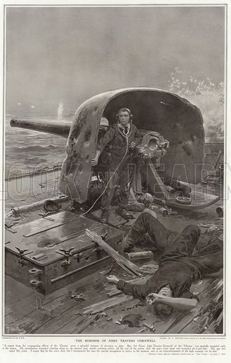Battle of Jutland, WW1. The heroism of John Travers Cornwell, who - at the age of only 16 - was posthumously awarded the Victoria Cross. Published in The Sphere, 18 November 1916. Drawn by Fortunino Matania.