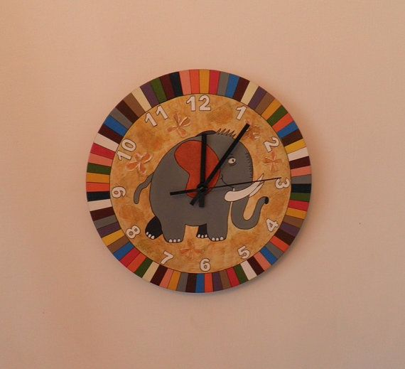 Elephant clock  Nursery or kids room  Coloured by Birdsland