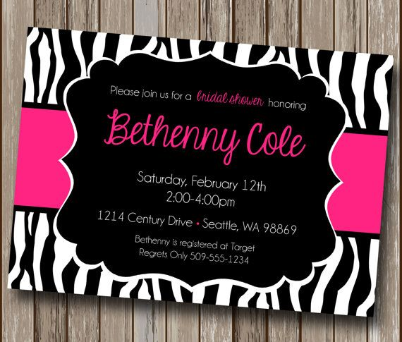pink and black zebra print invitations, Baby shower invitation