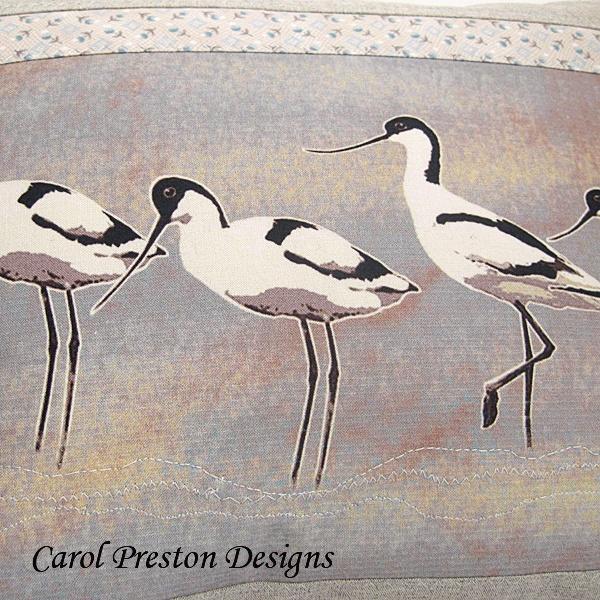 Bird Cushion Avocet Handmade Applique Cotton Linen Grey Pink Blue