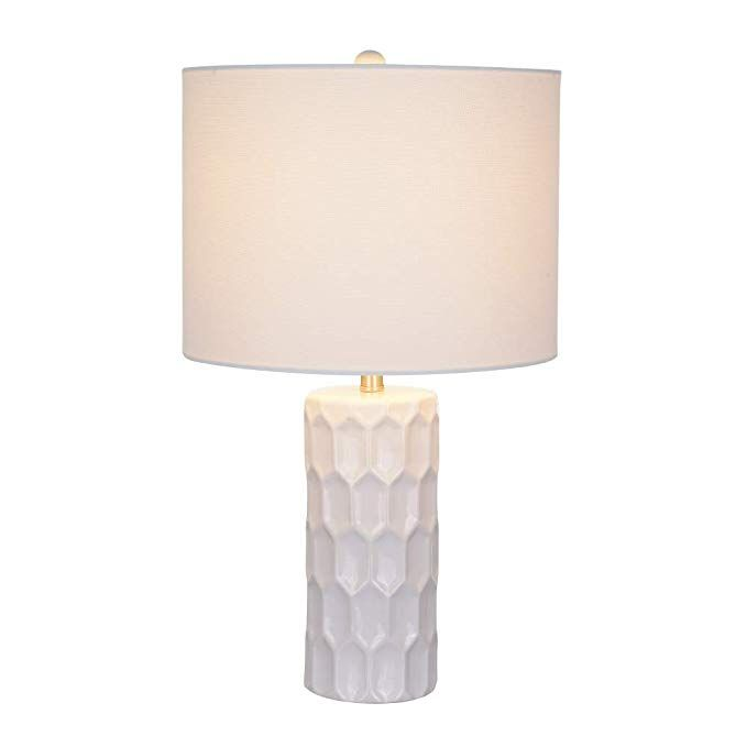 Ravenna Home White Ceramic Table Lamp 21 H With Bulb White Linen Shade Table Lamp Ceramic Table Ceramic Table Lamps