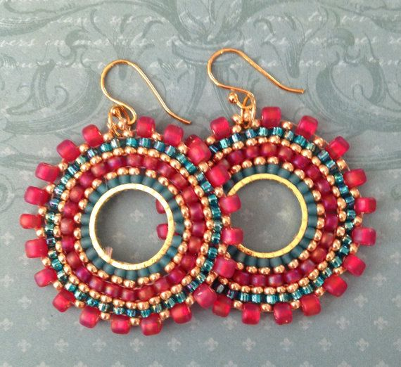 Beaded Small Hoop Earrings Aqua Berries  Red and Aqua  Seed Bead Earrings Beadwork Jewelry