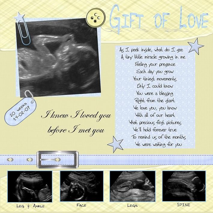 Great Poem for Baby Ultrasound scrapbook page! Super cute for the future :)