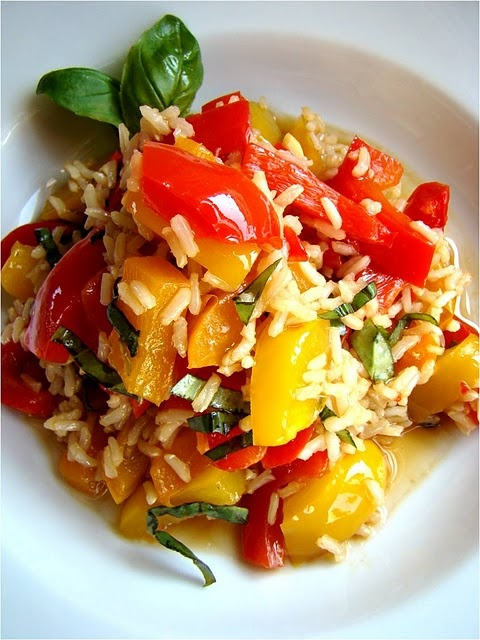 peppers, rice, basil