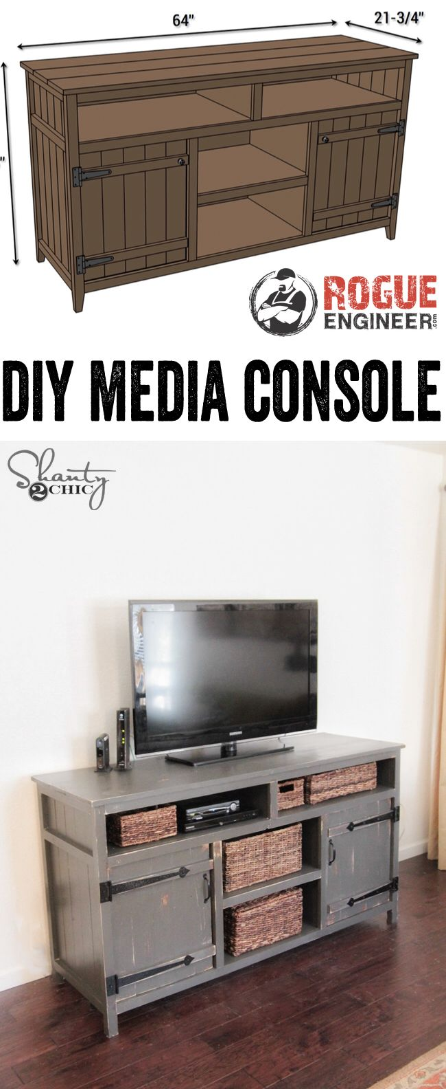LOVE this DIY Media Console! Free Plans and tutorial! www.shanty-2-chic.com