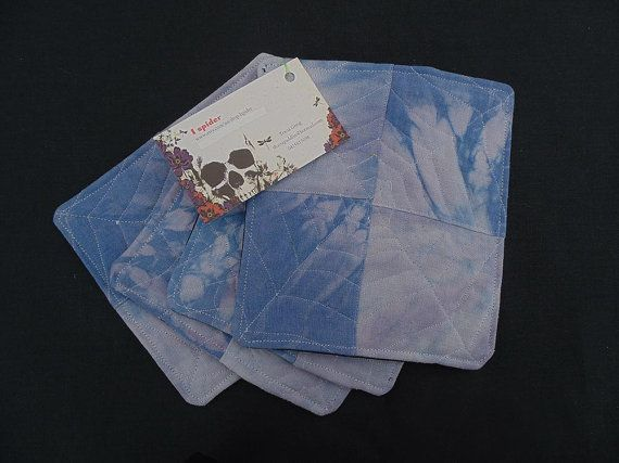 set of 4 costers indigo dye with shibori stitchwork and by Ispider