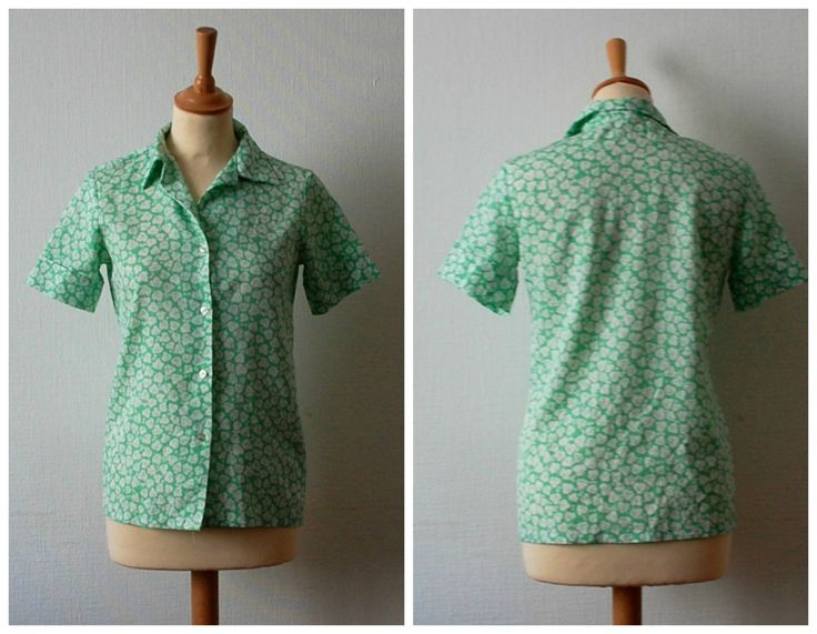 Vintage 1970's Mint Green and White Blouse , Women's Size S/M by CamilleVintage on Etsy