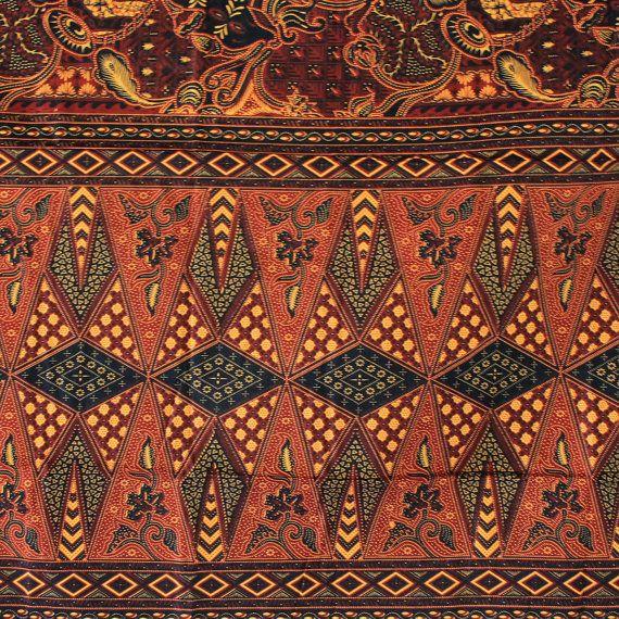 Vintage Javanese print in brown  tone 2 style in 1 by TheThailand, $15.00
