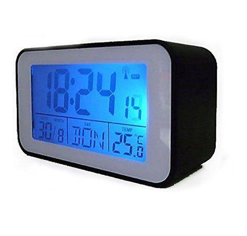 Funkuhr mit Thermometer Funkwecker wecker in schwarz by TARGARIAN