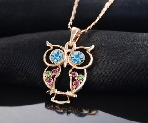 Crystal Owl Long Pendant Necklace