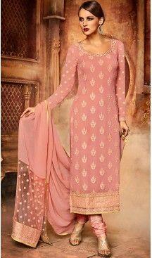 Pink Color Georgette Straight Cut Style Churidar Kameez | FH499676461 #anarkali , #salwar , #kameez , #dresses , #suits , #designer , #colors , #pinterest , #Shopping , #fashion , #boutique , #online , #heenastyle , #indian , #style , @heenastyle , #churidar , #likes , #abaya , #pakistani, #clothing , #womens , #mens , #kids , #boys , #girls