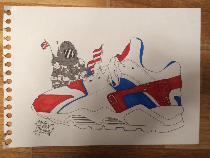 Nike Huarache Usa Cosmonaute Drapeau Flag Dessin Draw
