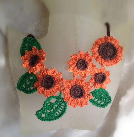crochet sunflowers necklace