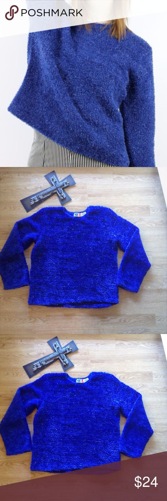 "Arizona Jeans Co fuzzy soft sweater Vintage nineties style  BLUE Arizona Jeans Co FUZZY SWEATER with METALLIC SILVER THREADING. Longsleeve 92% acrylic / 6% nylon / 2% spandex  Soft, fuzzy sweater Color:blue with specks of sparkly silver  Juniors size LARGE does have a little stretch  may not fit true to size see measurements  Approx. 15"" across the shoulder, 19"" across the bottom open 22' waist and 22"" length, pit-pit So trendy Arizona Jean Company Sweaters Crew & Scoop Necks"