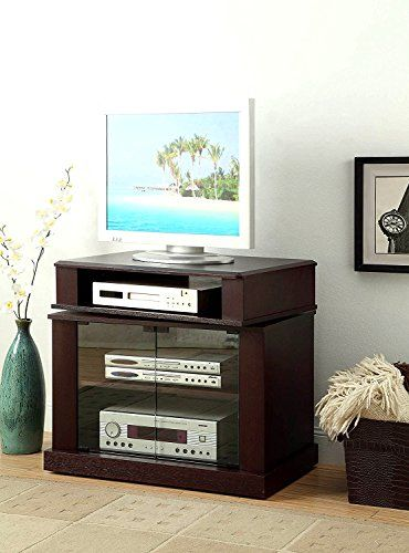 Multi Media Tv Stand With Cabinet And Adjustable Shelf Cherry Wooden