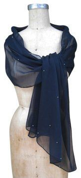 Navy Blue Chiffon Shawl Wrap Scarf with by BestFashionOutlet