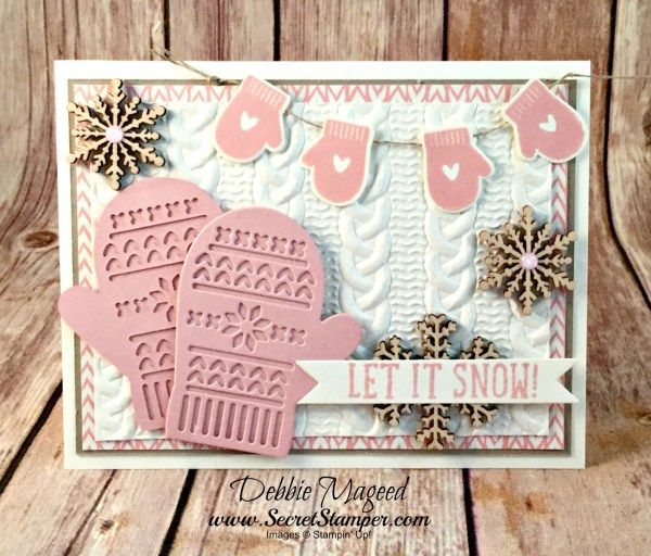 Smitten Mittens, Snow Place, Bundle of Love Specialty DSP, Many Mittens Framelits, Cable Knit EF, Gift Card Envelope & Trim Thinlits, Glitter Enamel Dots, Linen Thread, Snowflake Elements (exterior)