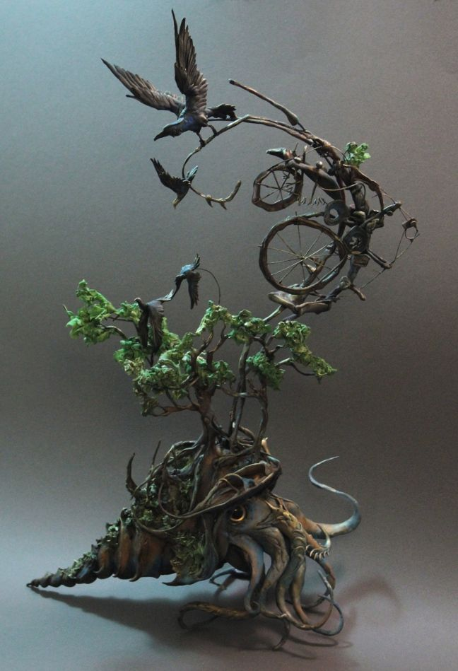 The cephalopod and the raven by ~creaturesfromel: Metals Sculpture, Inspiration, Ellen Jewett, The Ravens, Clay Sculpture, Polymer Clay, Animal Sculpture, Jewett Sculpture, Clay Art