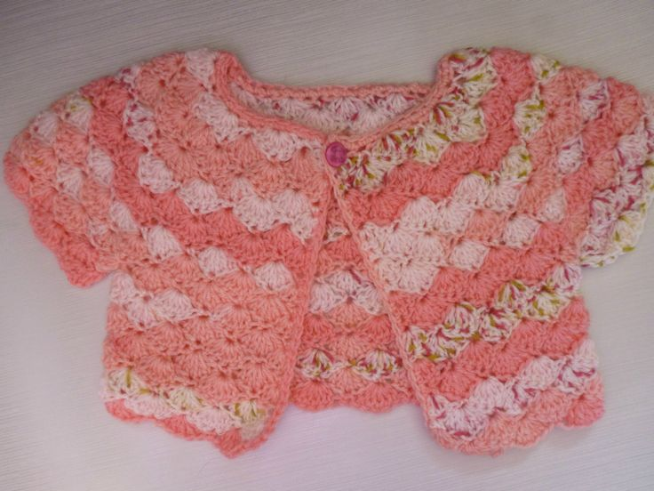 crochet baby cardigan, short sleeved cardigan, crochet top, cropped cardigan, peach baby clothes, girls clothes, baby clothes by UniquelySam on Etsy