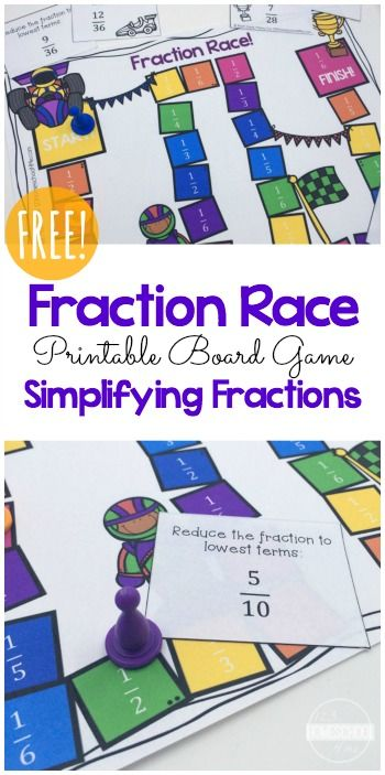 FREE Fractions Game - this is such a fun, educational math game to help kids in 4th grade, 5th grade, and 6th grade  practice writing fractions in their simplest form. Great for math centers, homeschool, summer learning, and after school practice.