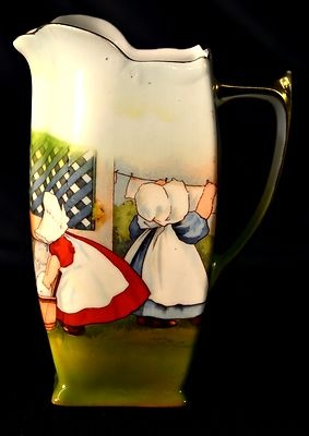 Bayreuth Antique Pitcher Sunbonnet Babies Wash Day | eBay