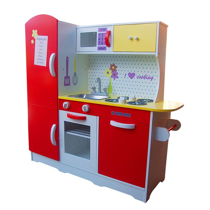 All 4 Kids Online brings you best Large Wooden Red Kids Pretend Kitchen at just $149.95