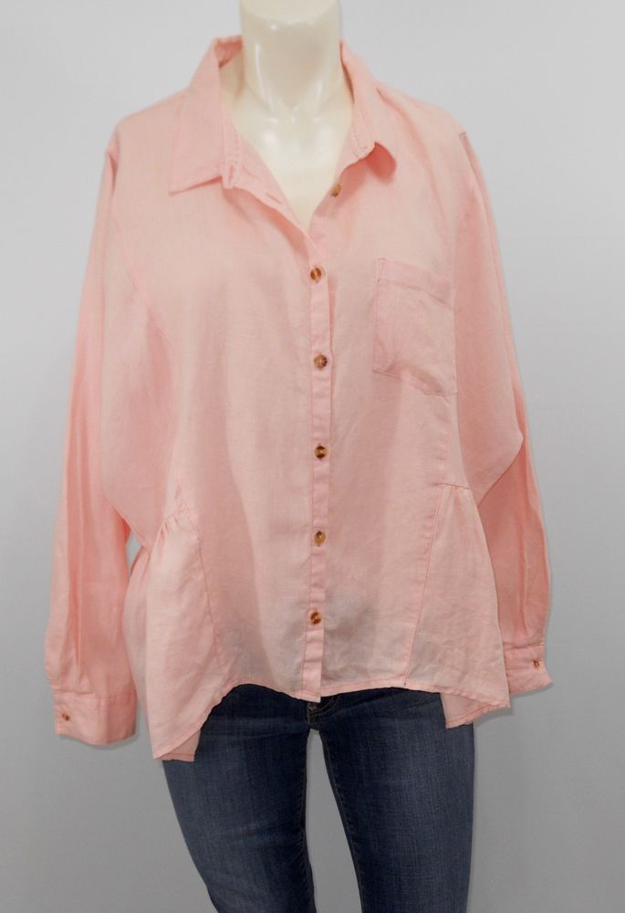 0eac78b1 Anthropologie Holding Horses Large Linen Peplum Blouse Pink Dolman sleeve  Boxy #Anthropologie #Blouse #Casual