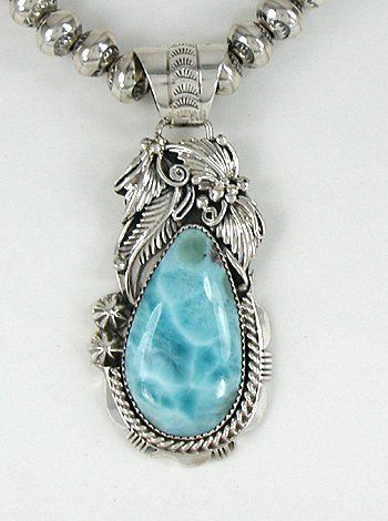 Authentic Navajo  Sterling Silver Larimar pendant