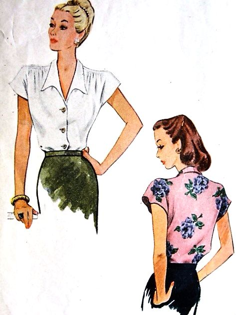 1940s Lovely FILM NOIR Blouse Pattern McCALL 5984 Beautiful Blouse Design Bust 34 Vintage Sewing Pattern
