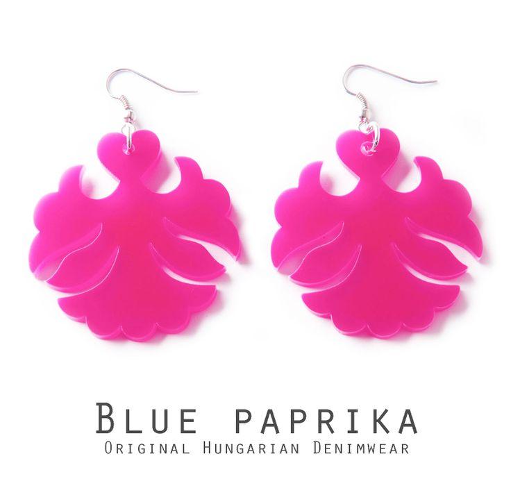 Angyal formájú pink fülbevaló