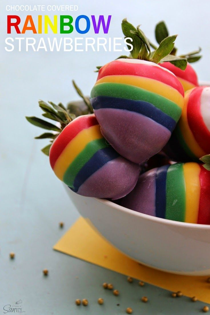 Chocolate Covered Rainbow Strawberries | Love Bakes Good Cakes