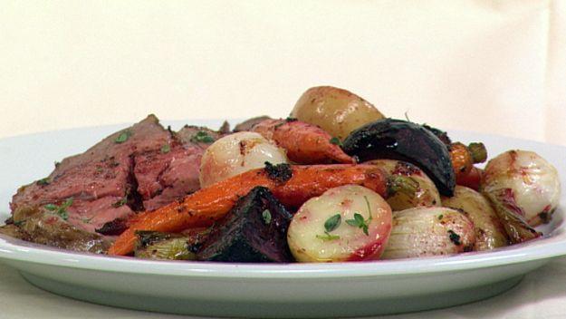 Roast lamb and baby vegies