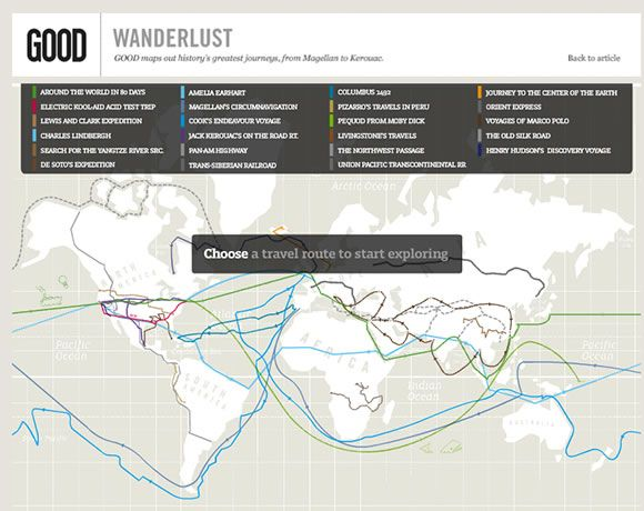 Tracing history's greatest journeys, from Magellan to Kerouac - interactive maps