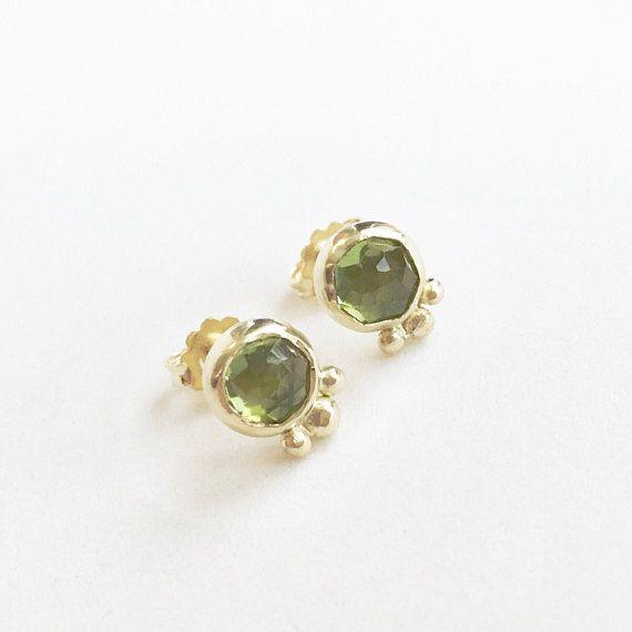 64089aff4 18K Gold and Rose Cut Peridot stud earrings, apple green, gold studs,  birthstone, 6mm