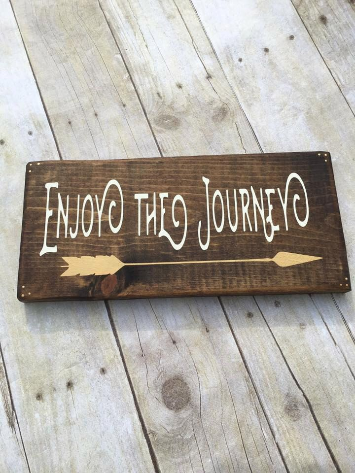 Wood Sign, Enjoy The Journey, Inspirational Sign, Wanderlust Sign, Mini Sign, Hand Painted Sign, Travel Sign, Arrow Sign, Hipster Sign by LibertyByDesign on Etsy https://www.etsy.com/listing/280746692/wood-sign-enjoy-the-journey