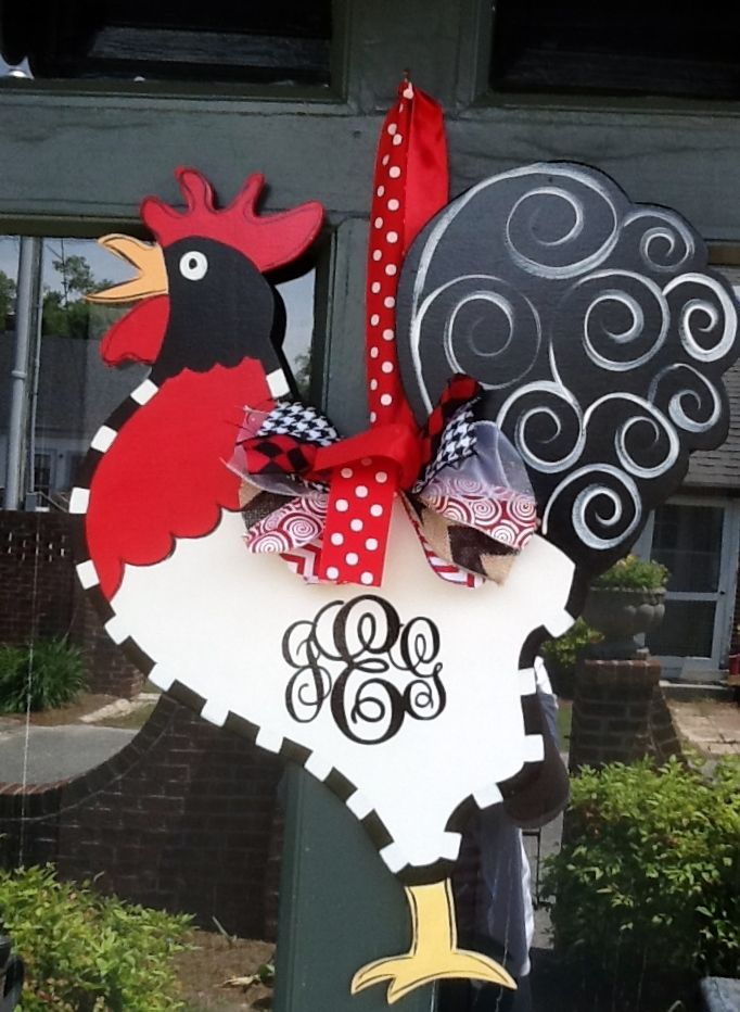 Rooster Door Hanger with Monogram Made by Sticks and More in Snow Hill, NC https://www.facebook.com/sticksandmore