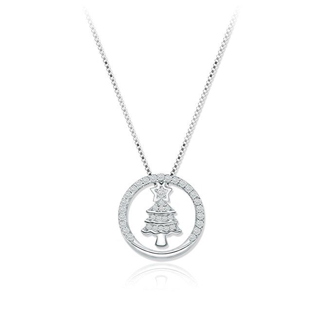 """Jing Chow Sterling Silver Christmas Tree Snowflake Pendant 1mm Box Chain Necklace,16"""" + 2 extender (Tree Pendant)"""