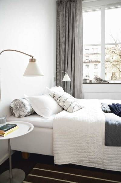 white & grey bed room, clean