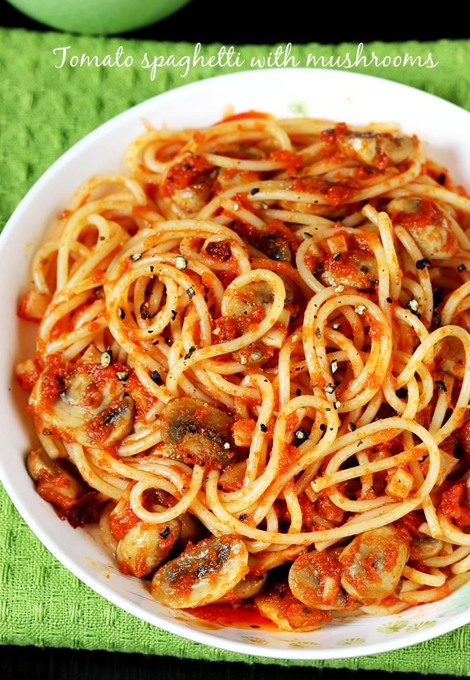 Mushroom pasta recipe. – A simple, quick and delicious basic pasta made with fresh tomatoes and mushrooms. This can also be made with mixed veggies and mushrooms can be skipped. I have used spaghetti here, you can also replace it with macaroni/ elbow pasta or fusilli or any other you desire. This is a kids' …