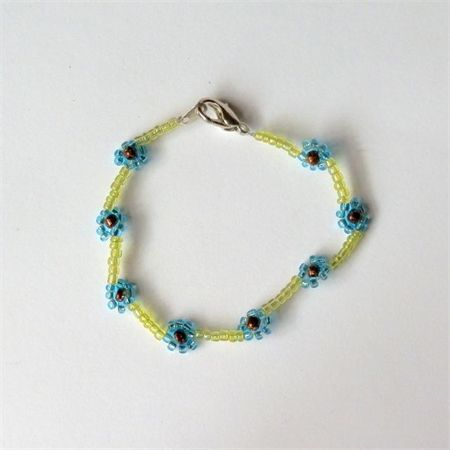 Woven Beaded Flower Bracelet: Blue and Green. Available to purchase from Breeze Creations on Madeit