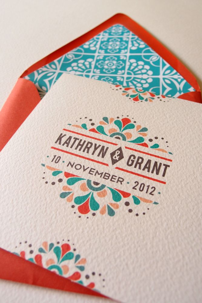 Talavera Mexican Tile Wedding Invitation Stationery with Custom Envelope Liner