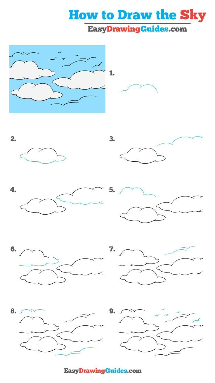 Learn How to Draw the Sky: Easy Step-by-Step Drawing Tutorial for Kids and Beginners. #Sky #drawingtutorial #easydrawing See the full tutorial at https://easydrawingguides.com/draw-sky-really-easy-drawing-tutorial/.
