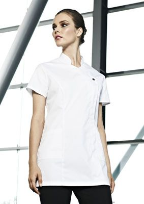 Ladies white press stud healthcare tunic., concealed zip and action back for comfort. We are a supplier of nurse's and medical uniforms to the NHS, cosmetic surgeries, dentists and private practices.